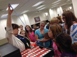 Students learn about microfiche.