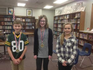 Longfellow/LDI Spelling Bee 2016 Winners, Ben Manske, 2nd Place, Sydney Heise, 1st Place Winner, Kiara Garves, Alternate